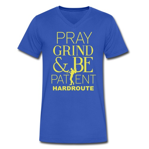 HARDROUTE Pray Grind Be Patient Men's V-neck  T-Shirt  - Men's V-Neck T-Shirt by Canvas