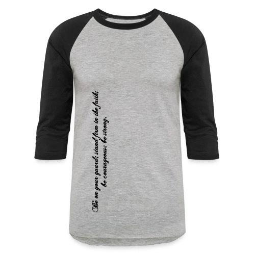 Men's 3/4 Sleeve - Grey/Black - 1 Corinthians 16:13 - Baseball T-Shirt