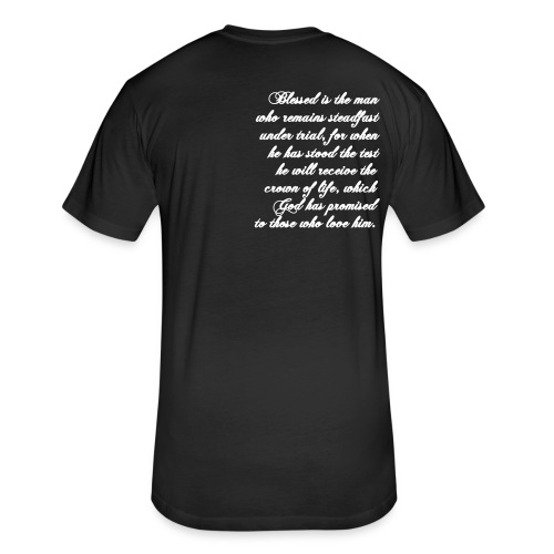 Men's Tee - Black - James 1:12 - Fitted Cotton/Poly T-Shirt by Next Level