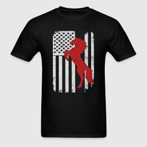 Horse Riding Mustang - America USA Flag T-Shirt T-Shirts - Men's T-Shirt