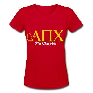 LPC - New Logo with Chapter (Vneck),Hermana Name on the Back, Semester/Year on Sleeve - Tshirt - Women's V-Neck T-Shirt