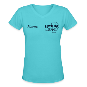 Women's V-Neck T- w/back & chest logo, name (Black Glitz) - Women's V-Neck T-Shirt