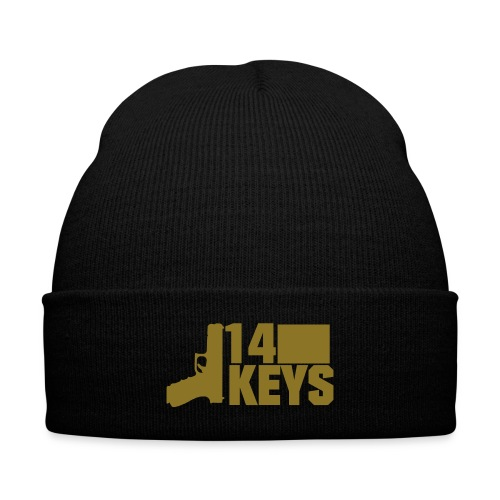 (Limited) GOLD 14 Keys Logo Beanie (Shiny Gold Logo) - Knit Cap with Cuff Print