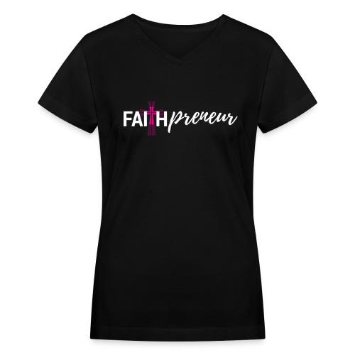 Faithpreneur T-Shirt-Blk - Women's V-Neck T-Shirt
