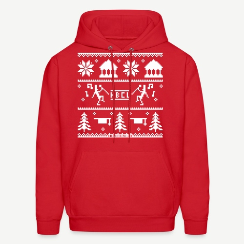 HBCU Ugly Christmas Sweater - Men's Red and White Hoodie - Men's Hoodie