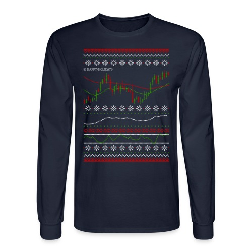 Forex Chart Ugly Sweater Long Sleeves (with Happy Holidays text) - Men's Long Sleeve T-Shirt