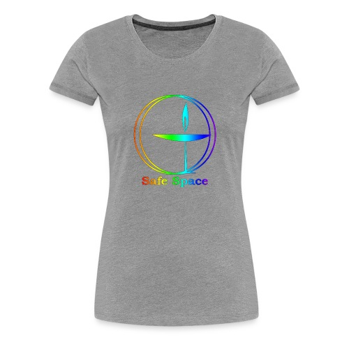 UU Rainbow Chalice - Safe Space - Women's Premium T-Shirt