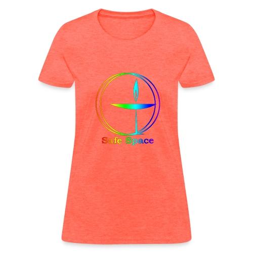 UU Rainbow Chalice - Safe Space - Women's T-Shirt