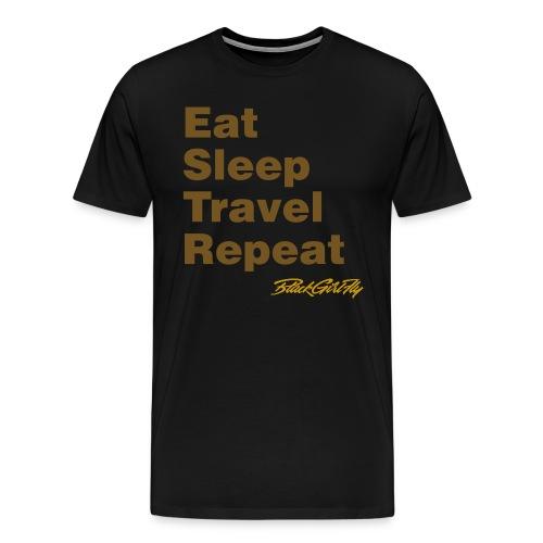 Eat, Sleep, Travel Gold Foil - Men's Premium T-Shirt