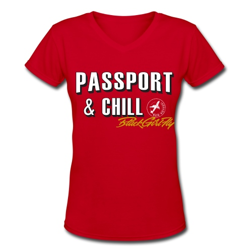 Passport & Chill-stamp - Women's V-Neck T-Shirt