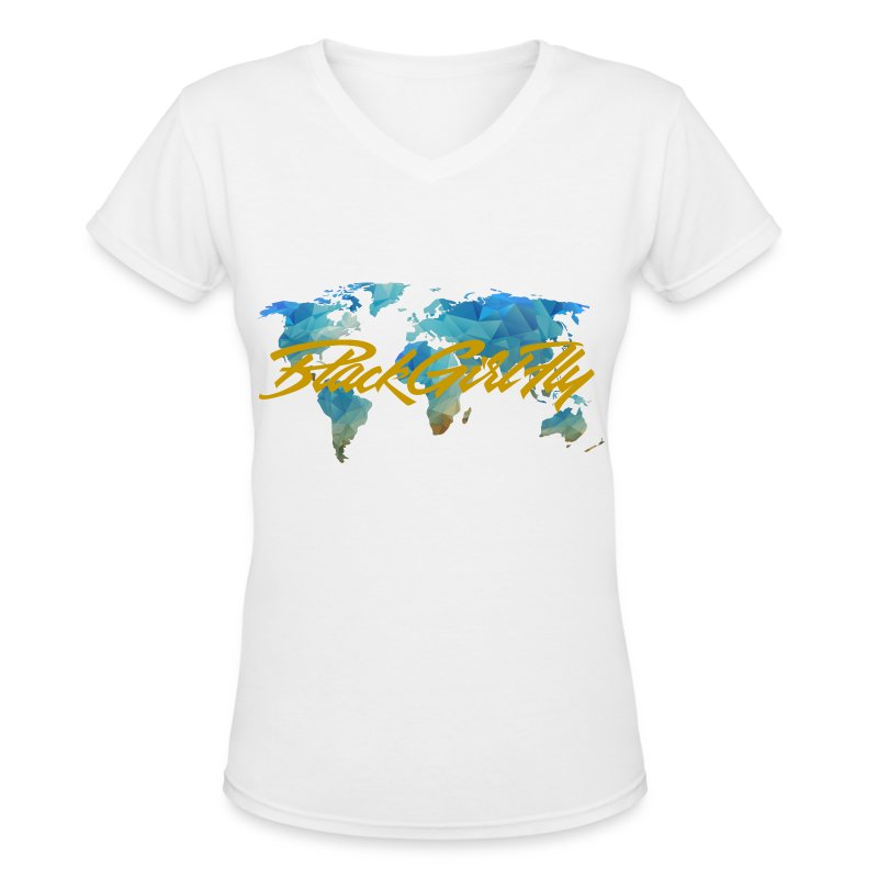 map-transparent.png - Women's V-Neck T-Shirt