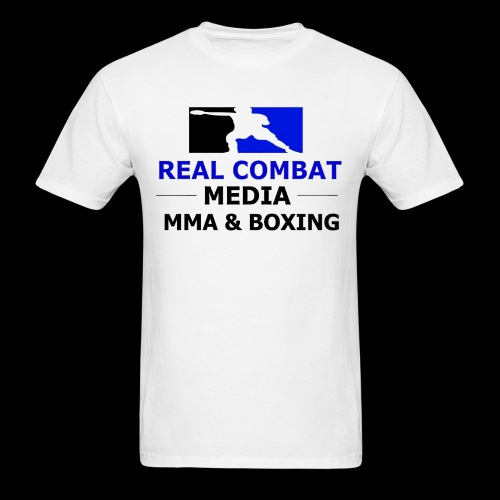 Real Combat Media White T-Shirt MMA & Boxing Black Text Edition  - Men's T-Shirt