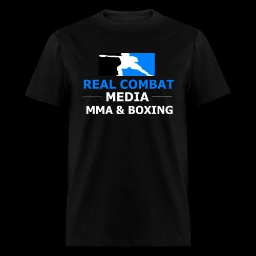 Real Combat Media Black T-Shirt MMA & Boxing White Text Edition  - Men's T-Shirt