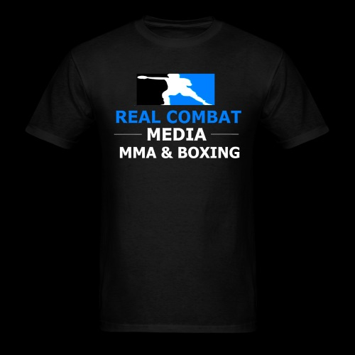 Real Combat Media Black T-Shirt MMA & Boxing White Text Edition  - Men's T-Shirt
