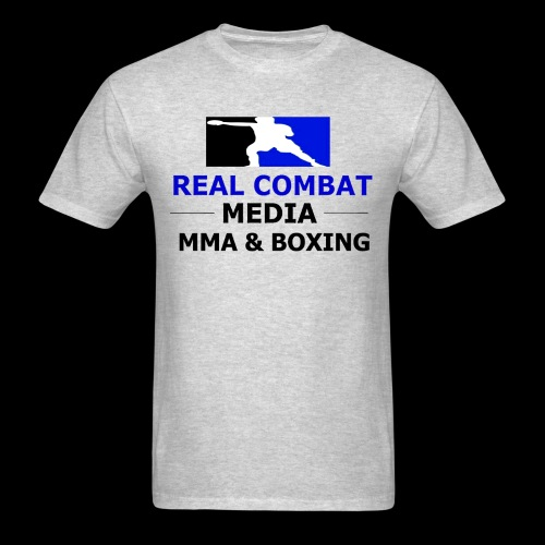 Real Combat Media Grey T-Shirt MMA & Boxing Black Text Edition  - Men's T-Shirt