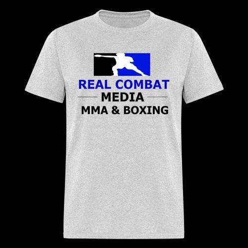 Real Combat Media Grey T-Shirt MMA & Boxing Black Text Edition  - Men's T-Shirt