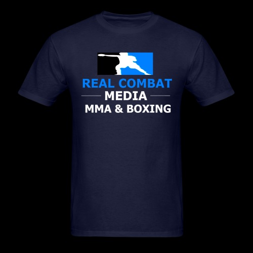 Real Combat Media Navy T-Shirt MMA & Boxing White Text Edition - Men's T-Shirt