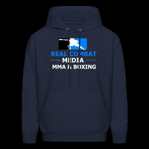 Real Combat Media Navy Hoodie MMA & Boxing White Text Edition  - Men's Hoodie