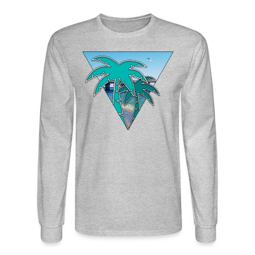 Miami Isle Beach Palm Tree Men's Long Sleeve - Men's Long Sleeve T-Shirt