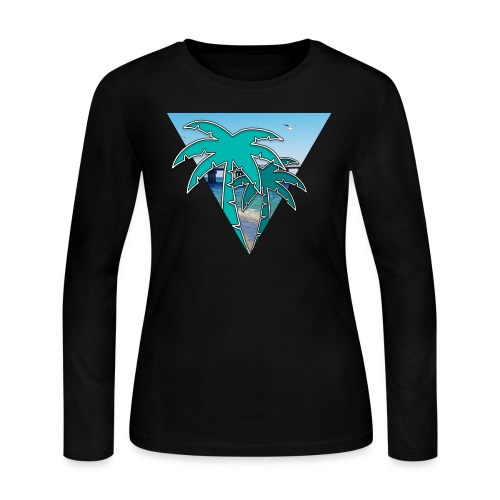 Miami Isle Beach Palm Tree Women's Long Sleeve - Women's Long Sleeve Jersey T-Shirt