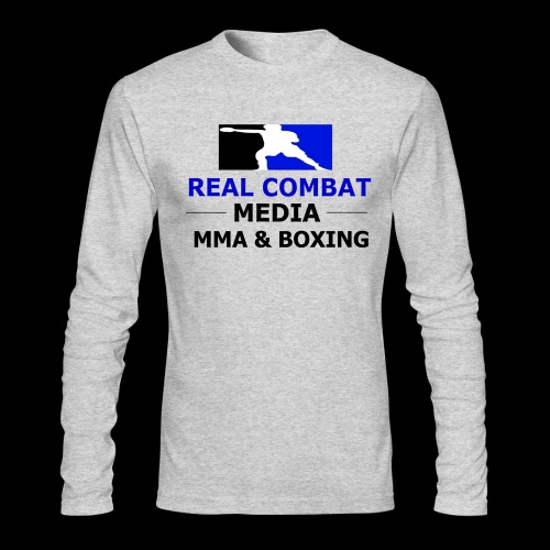 Real Combat Media Grey Long Sleeve MMA & Boxing Black Text Edition  - Men's Long Sleeve T-Shirt by Next Level