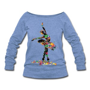Ballerina with paint splash Women's Wideneck Sweatshirt - Women's Wideneck Sweatshirt