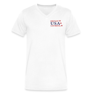 Discount USA - Mens White V Tee - Men's V-Neck T-Shirt by Canvas