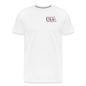 Discount USA Mens White Tee with small logo - Men's Premium T-Shirt
