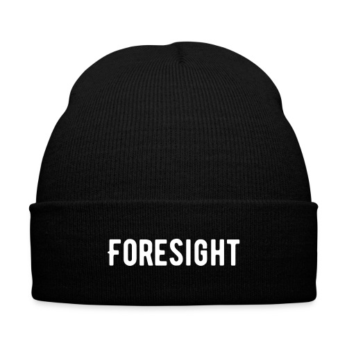 Foresight Text Beanie - Knit Cap with Cuff Print