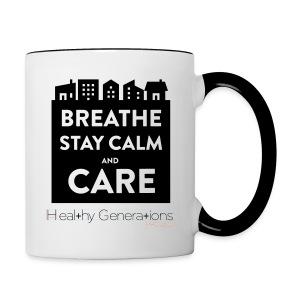 Breathe Stay Calm and Care - Mug, White - Contrast Coffee Mug