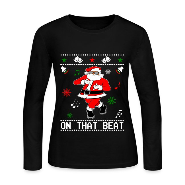 black santa juju dance ugly christmas style womens long sleeve t shirt