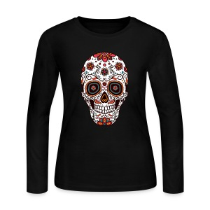 Sugar Skull - Day of the Dead #7 - Women's Long Sleeve Jersey T-Shirt