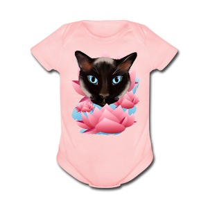 Cat From The Land of Lotus - Short Sleeve Baby Bodysuit