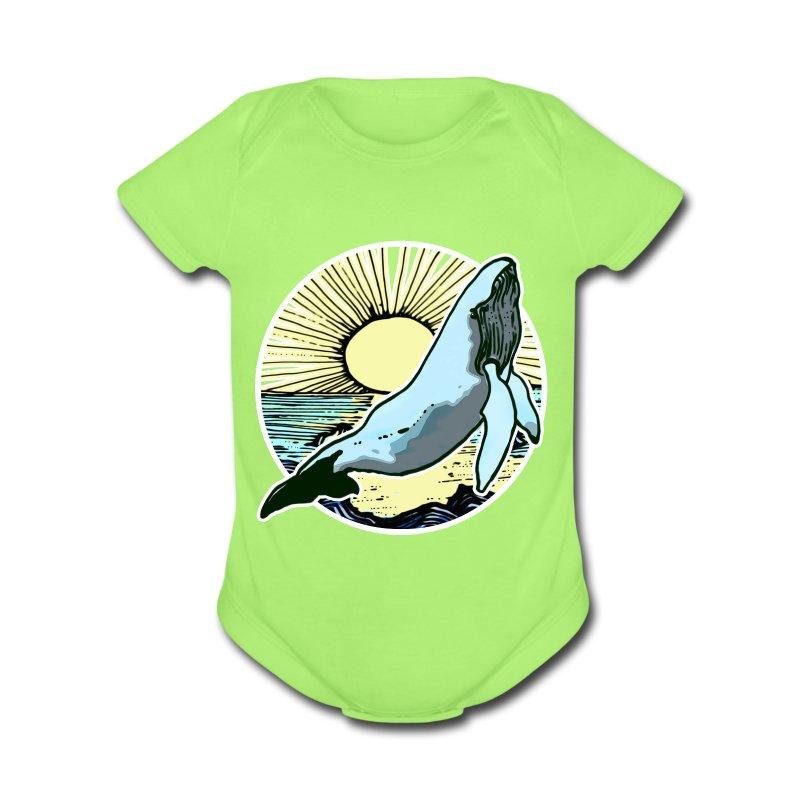 Sun rise whale  - Short Sleeve Baby Bodysuit
