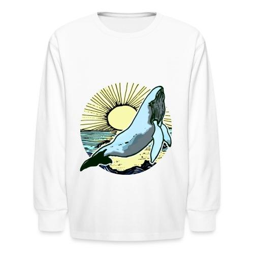Sun rise whale  - Kids' Long Sleeve T-Shirt
