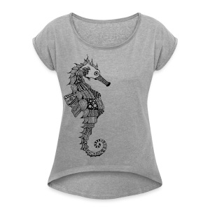 South Seas Seahorse Women´s Rolled Sleeve Boxy T-Shirt - Women's Roll Cuff T-Shirt