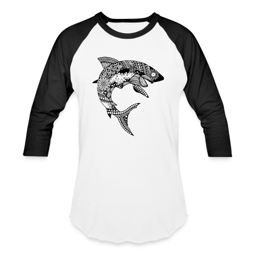 Tribal Shark Men's Baseball T-Shirt from South Seas Tees - Baseball T-Shirt