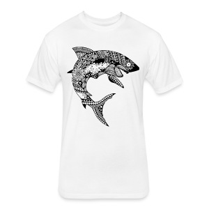 Tribal Shark Fitted Cotton/Poly T-Shirt from South Seas Tees - Fitted Cotton/Poly T-Shirt by Next Level