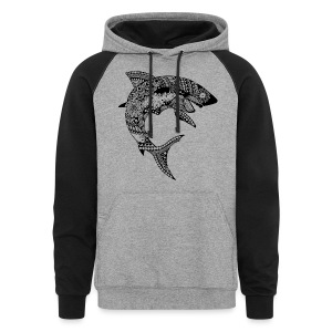 Tribal Shark Colorblock Hoodie from South Seas Tees - Colorblock Hoodie
