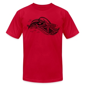 South Seas Tribal Shark Men's T-Shirt by American Apparel - Men's T-Shirt by American Apparel