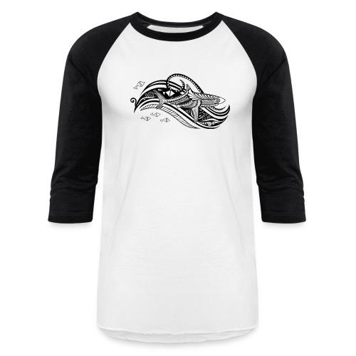 South Seas Tribal Shark Baseball T-Shirt - Baseball T-Shirt