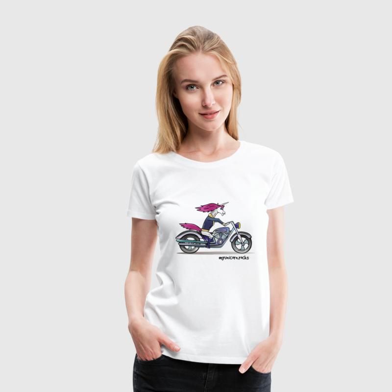Badass unicorn on a motorcycle T-Shirts - Women's Premium T-Shirt