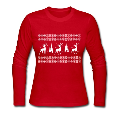 christmas reindeer - Women's Long Sleeve Jersey T-Shirt