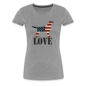 Patriotic Love (feeds 12 shelter dogs) - Women's Premium T-Shirt