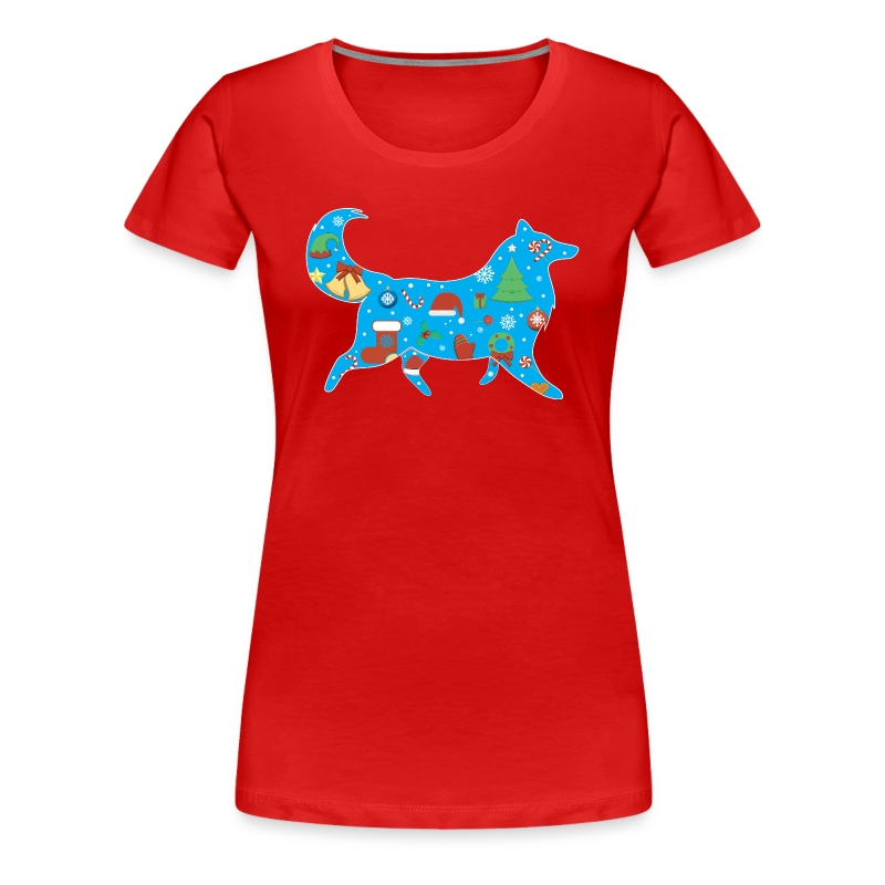 Christmas Collie - Womens Plus Size T-shirt - Women's Premium T-Shirt