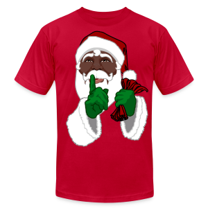 African American Santa Shirts Men's Black Santa T-shirt  - Men's T-Shirt by American Apparel