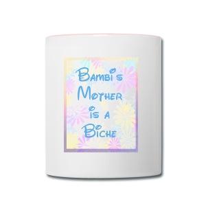 Bambi's Mom -mug with pink handle - Contrast Coffee Mug