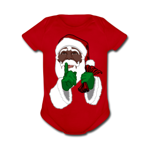 African Santa Baby Bodysuit Toddler Christmas Shirts - Short Sleeve Baby Bodysuit