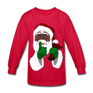 Kids African Santa Shirt Festive Kid's Christmas Shirts - Kids' Long Sleeve T-Shirt