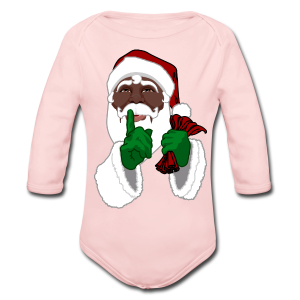 African Santa Baby Bodysuit Toddler Christmas Shirts - Long Sleeve Baby Bodysuit